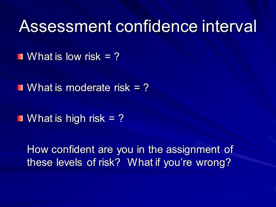 Assessment confidence interval