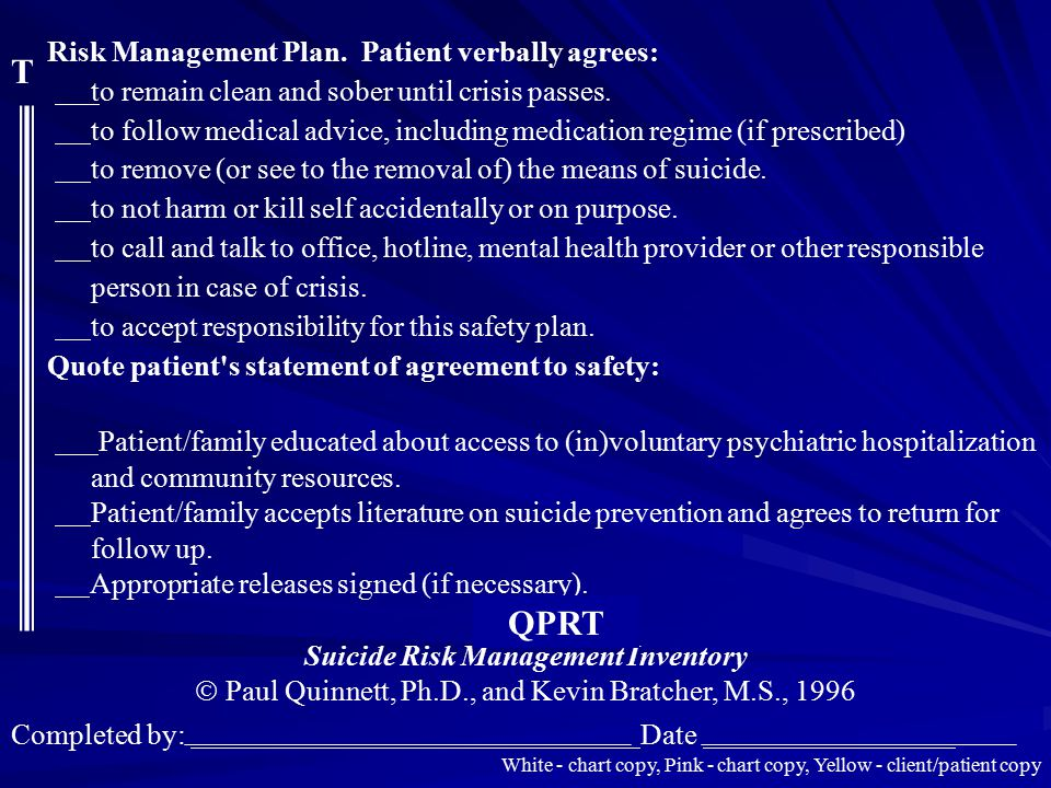 Suicide Risk Management Inventory
