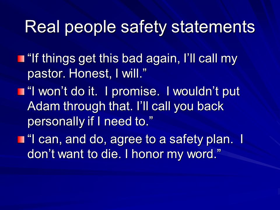 Real people safety statements