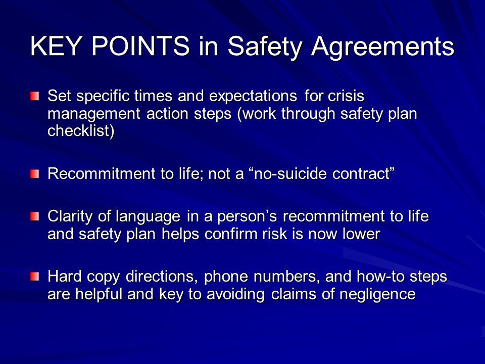 KEY POINTS in Safety Agreements