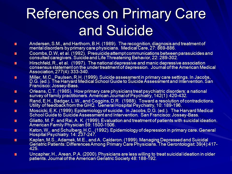 References on Primary Care and Suicide