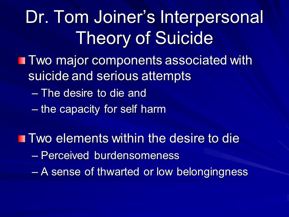 Dr. Tom Joiner's Interpersonal Theory of Suicide