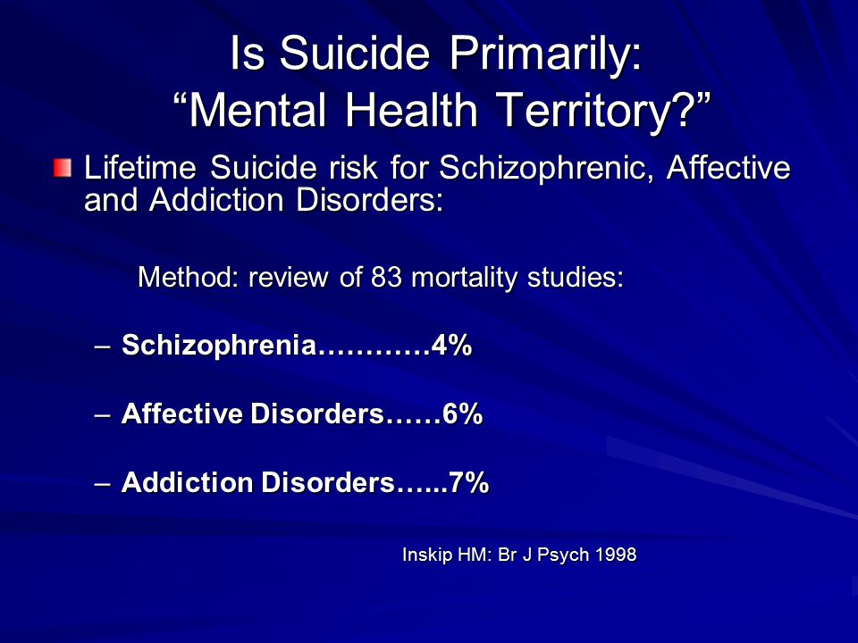 Is Suicide Primarily: Mental Health Territory
