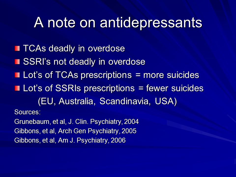 A note on antidepressants