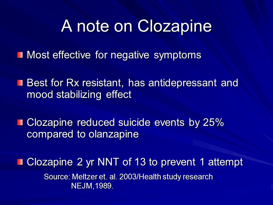 A note on Clozapine Most effective for negative symptoms