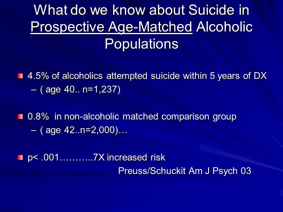 What do we know about Suicide in Prospective Age-Matched Alcoholic Populations