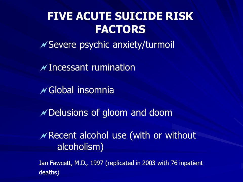 FIVE ACUTE SUICIDE RISK FACTORS