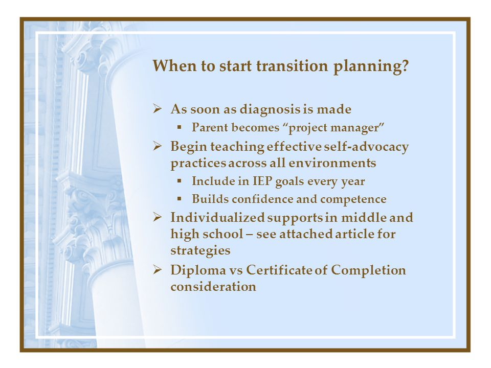 When to start transition planning