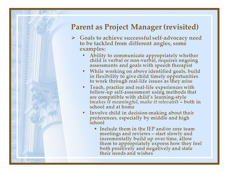 Parent as Project Manager (revisited)