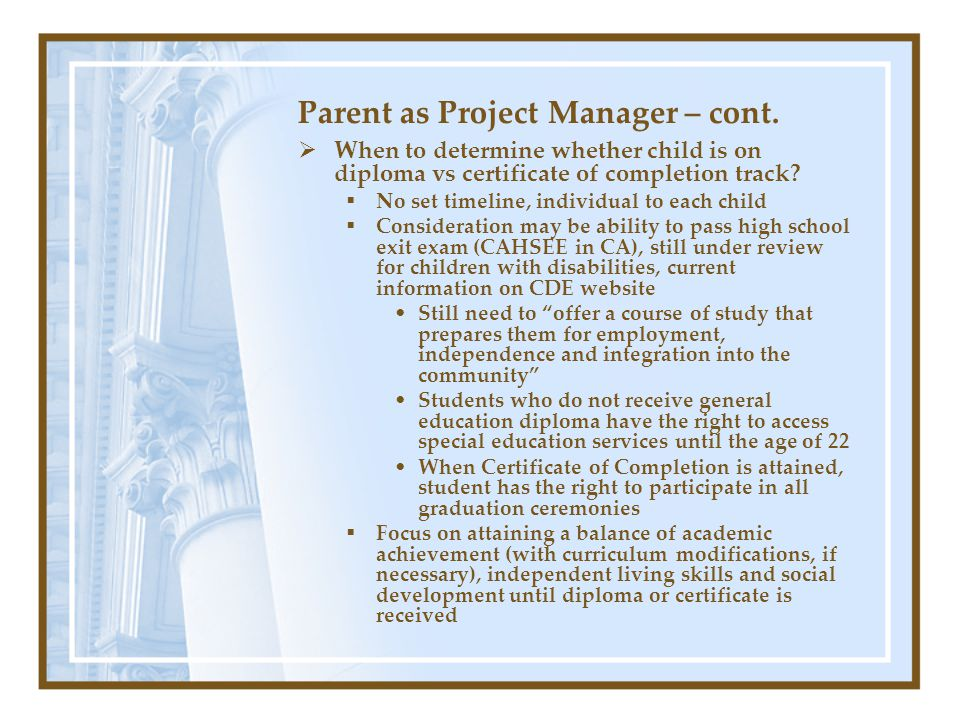Parent as Project Manager – cont.