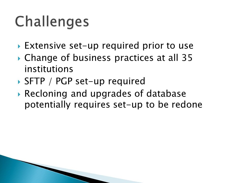 Challenges Extensive set-up required prior to use