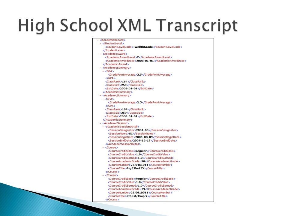 High School XML Transcript