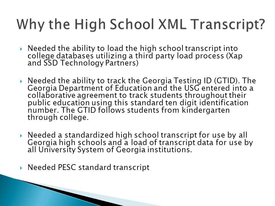 Why the High School XML Transcript