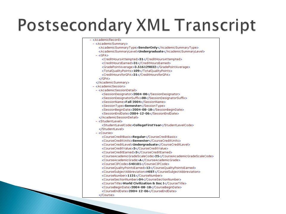 Postsecondary XML Transcript
