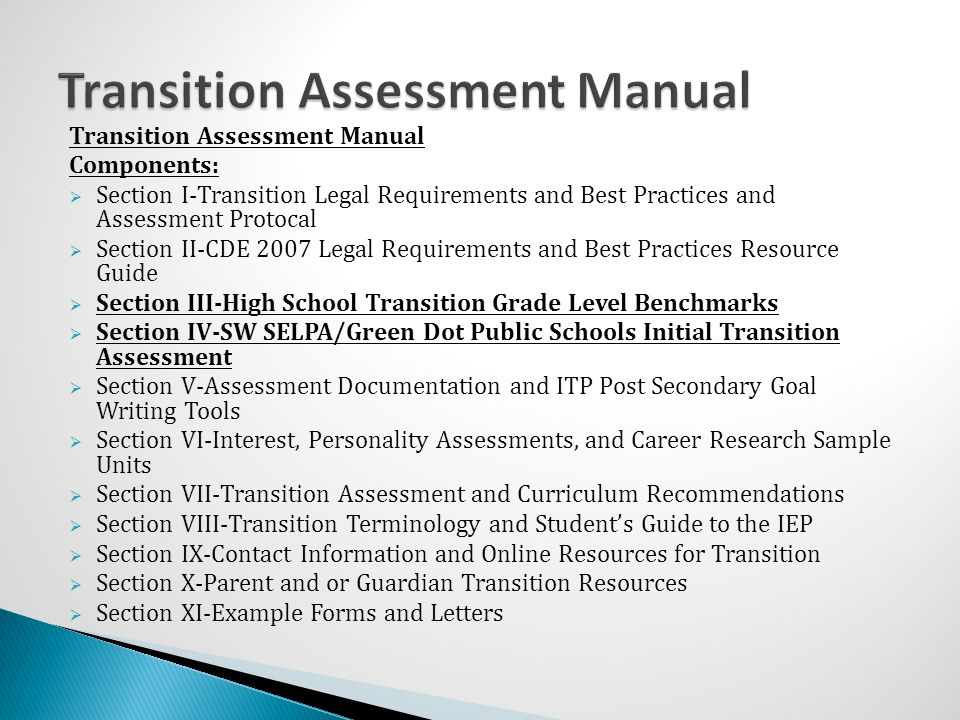 Transition Assessment Manual
