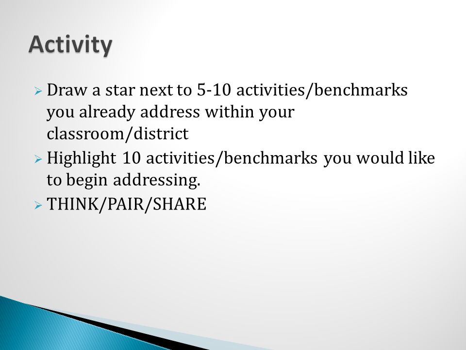 Activity Draw a star next to 5-10 activities/benchmarks you already address within your classroom/district.