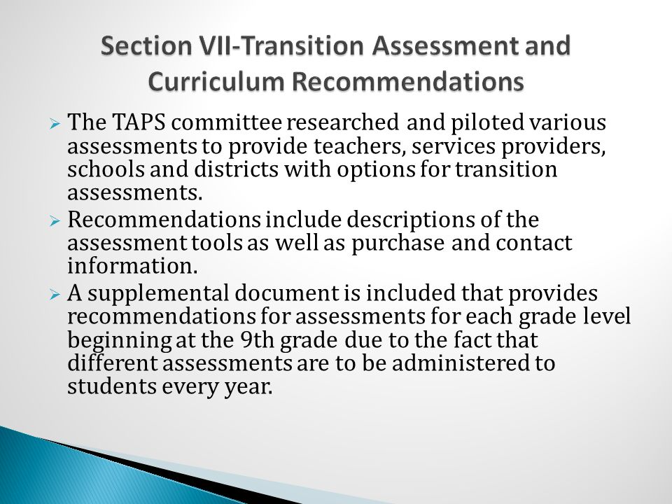 Section VII-Transition Assessment and Curriculum Recommendations
