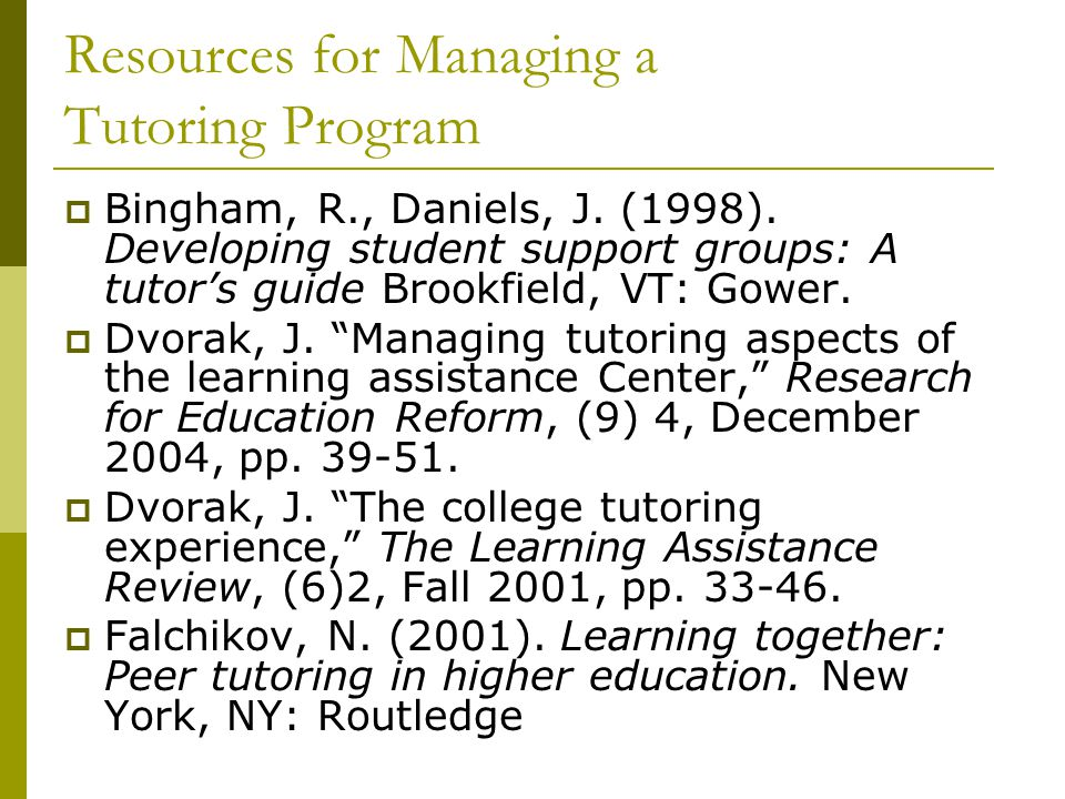 Resources for Managing a Tutoring Program