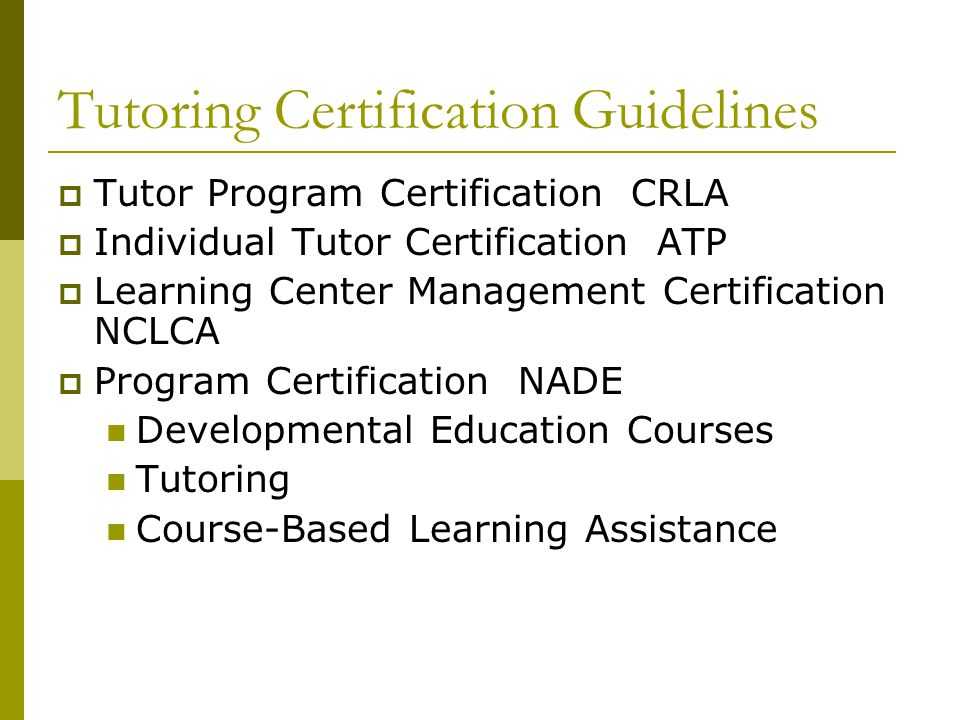 Tutoring Certification Guidelines