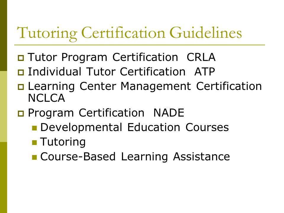 Tutoring Certification Guidelines