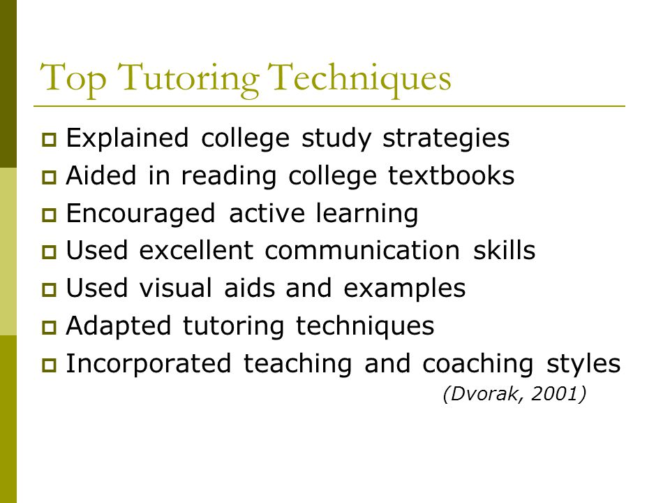 Top Tutoring Techniques