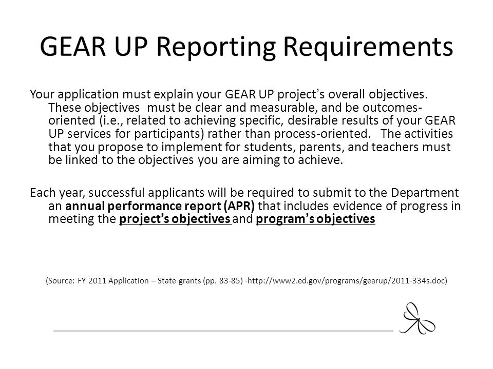 GEAR UP Reporting Requirements