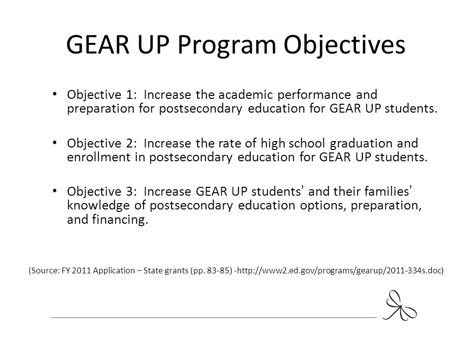 GEAR UP Program Objectives