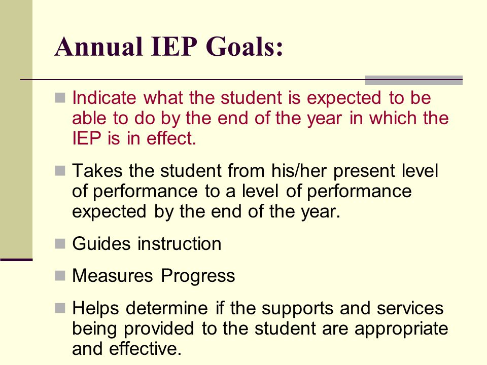 Annual IEP Goals: Indicate what the student is expected to be able to do by the end of the year in which the IEP is in effect.