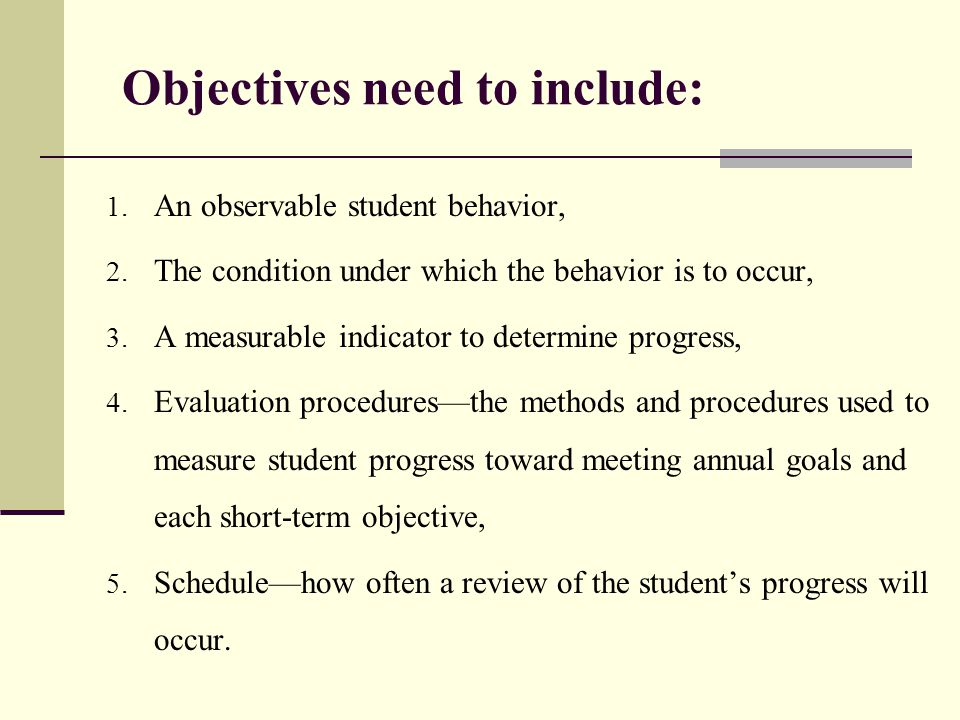 Objectives need to include: