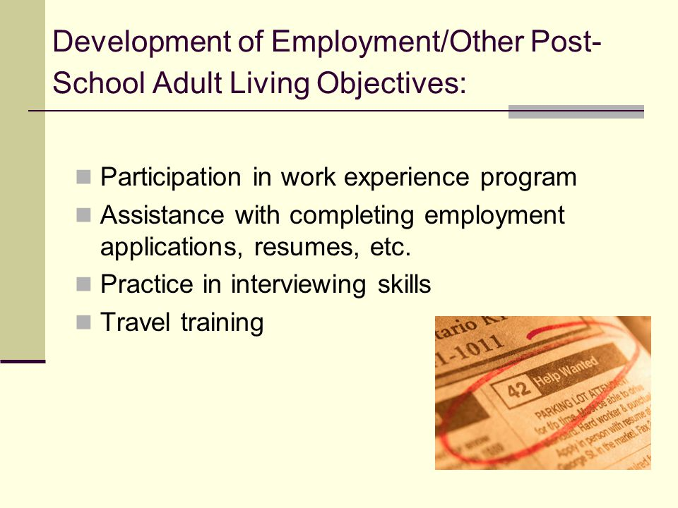 Development of Employment/Other Post-School Adult Living Objectives:
