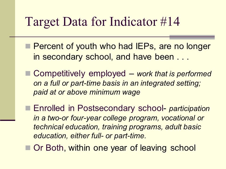 Target Data for Indicator #14
