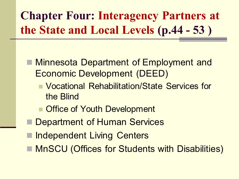 Chapter Four: Interagency Partners at the State and Local Levels (p