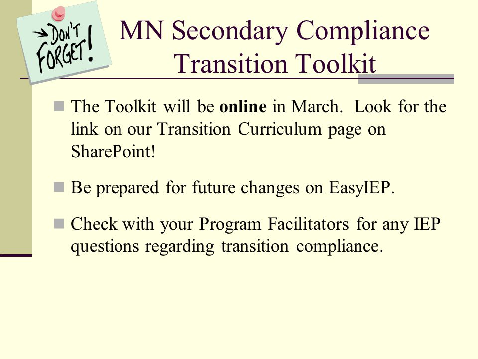 MN Secondary Compliance Transition Toolkit