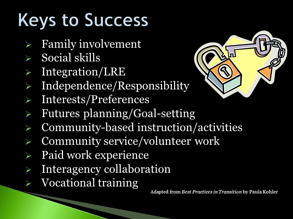 Keys to Success Family involvement Social skills Integration/LRE