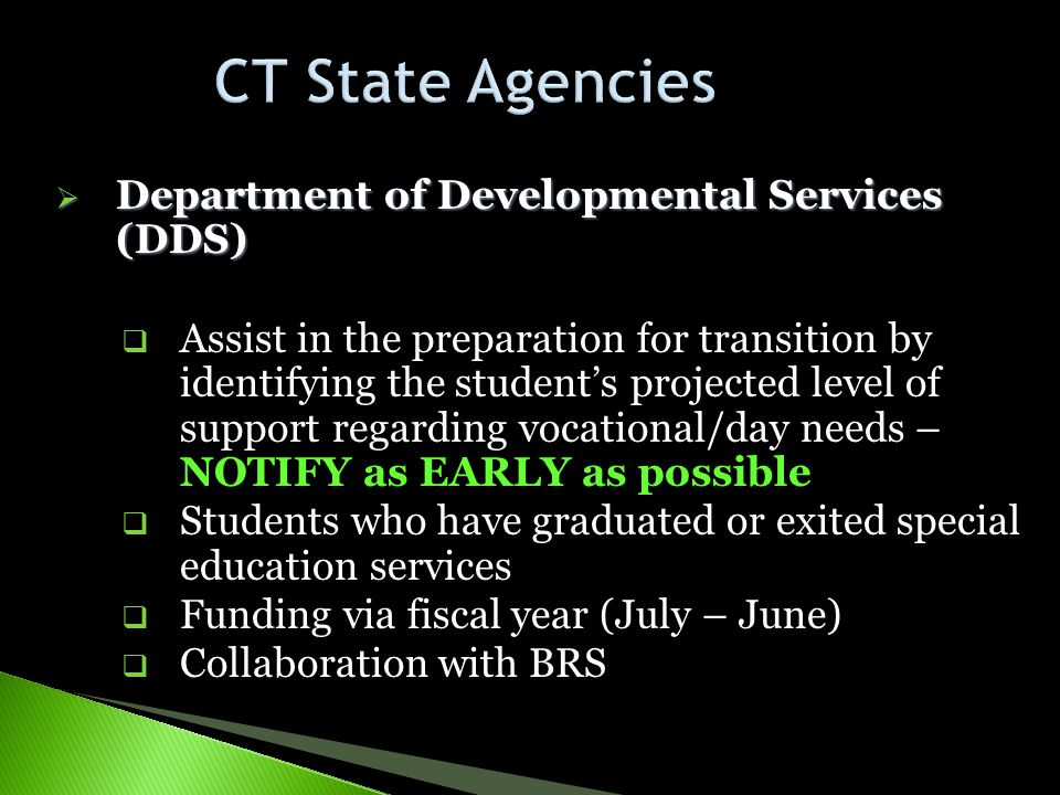 CT State Agencies Department of Developmental Services (DDS)