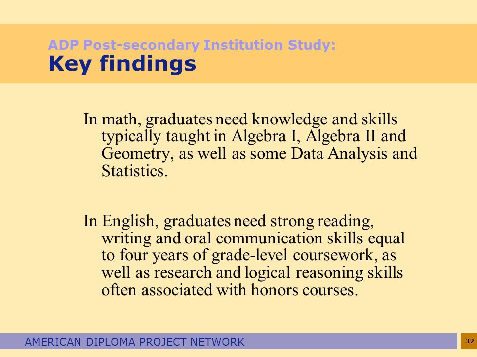 ADP Post-secondary Institution Study: Key findings