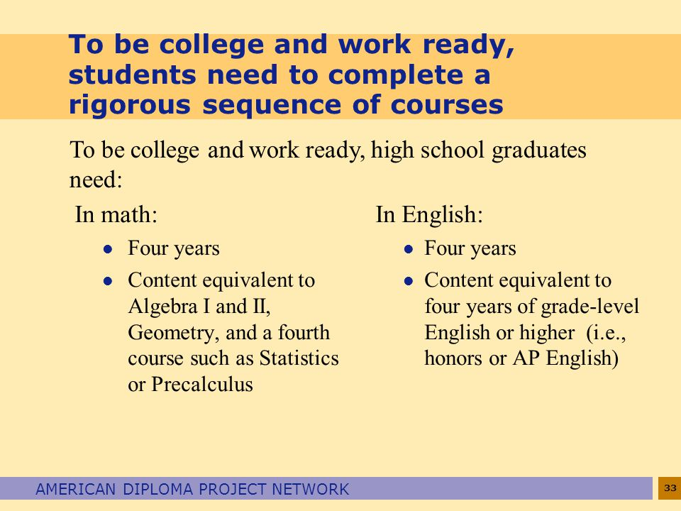 To be college and work ready, students need to complete a rigorous sequence of courses
