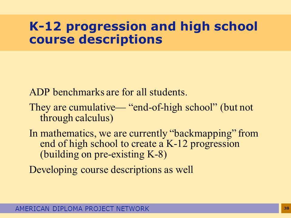 K-12 progression and high school course descriptions