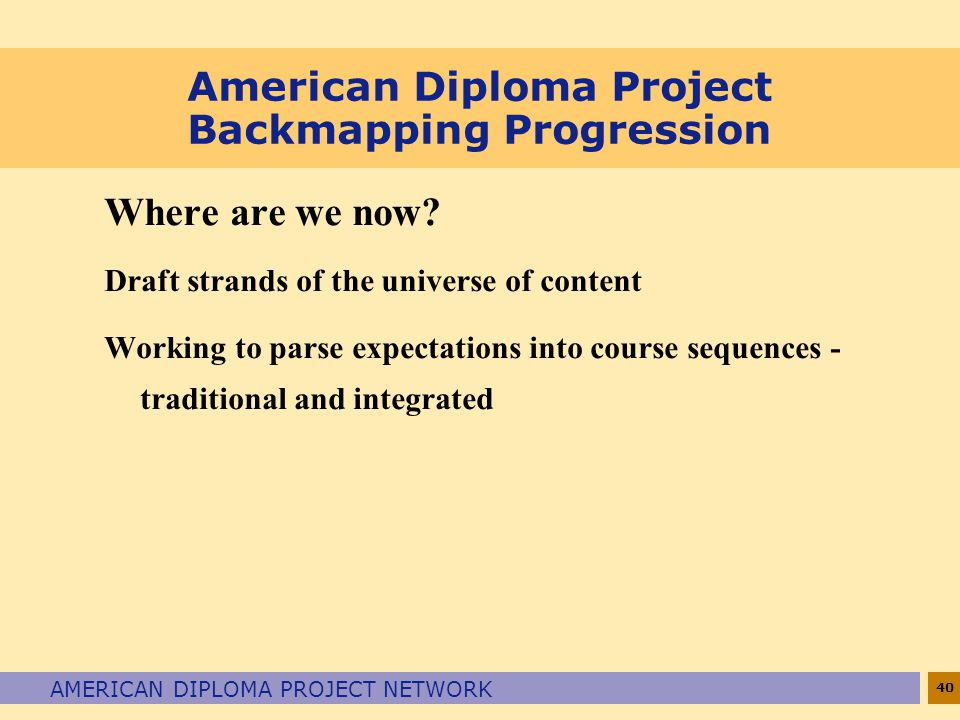 American Diploma Project Backmapping Progression