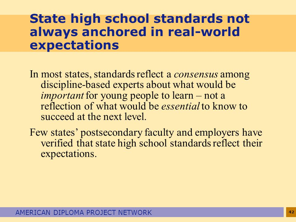 State high school standards not always anchored in real-world expectations