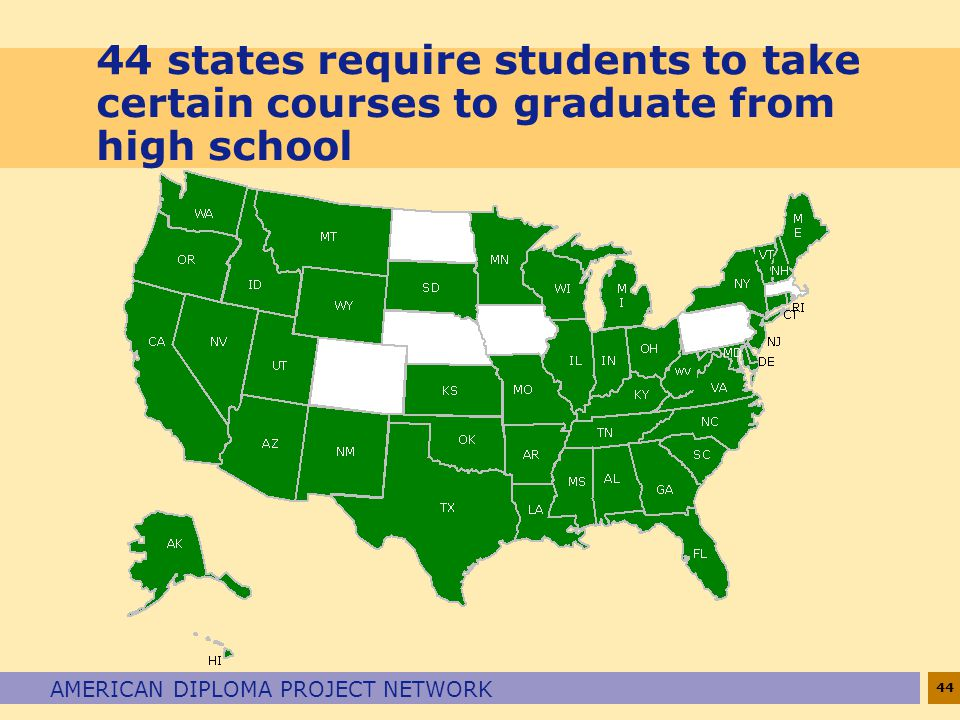 44 states require students to take certain courses to graduate from high school