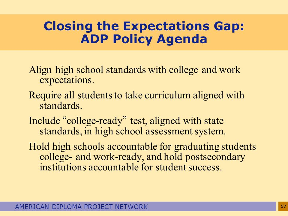 Closing the Expectations Gap: ADP Policy Agenda