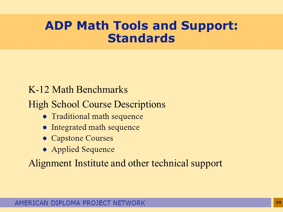 ADP Math Tools and Support: Standards