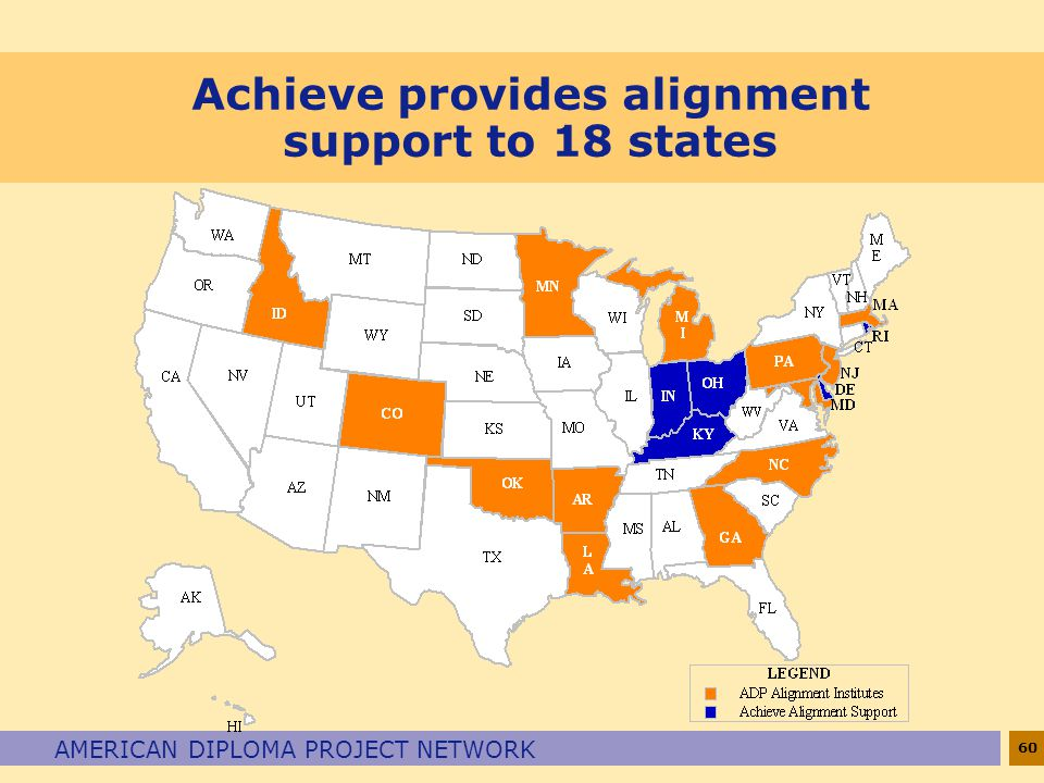 Achieve provides alignment support to 18 states