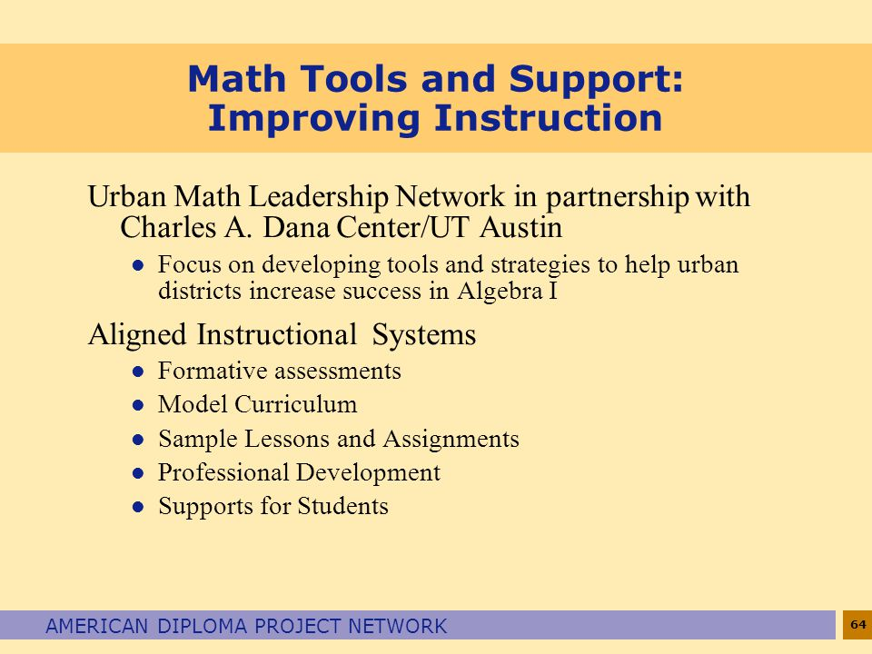 Math Tools and Support: Improving Instruction
