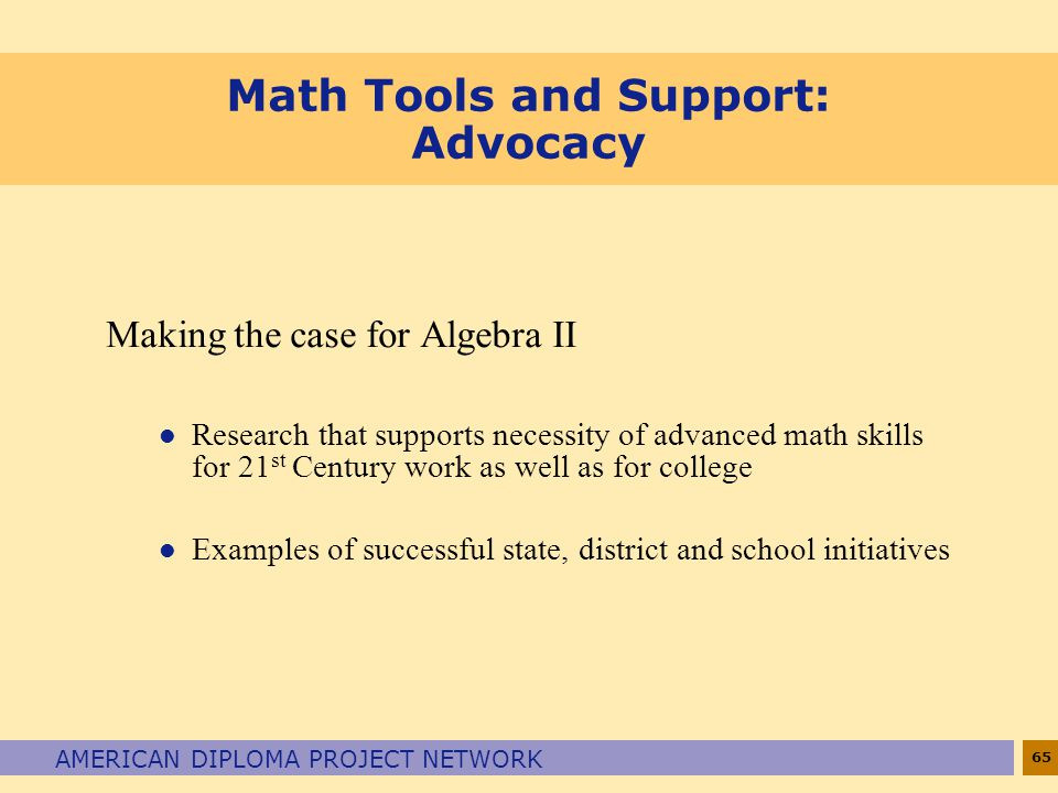 Math Tools and Support: Advocacy