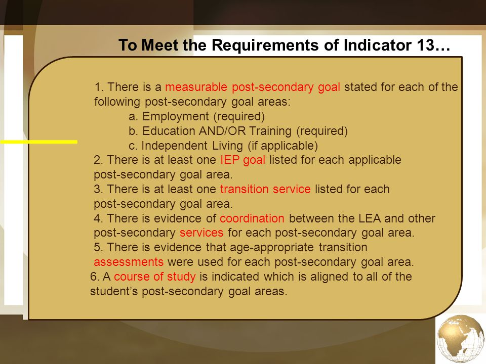 To Meet the Requirements of Indicator 13…