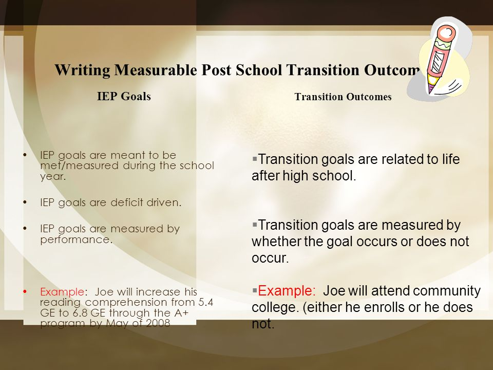 Writing Measurable Post School Transition Outcomes IEP Goals