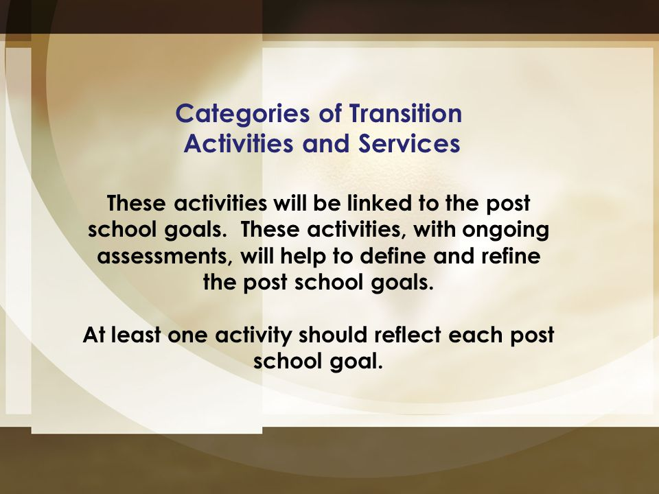 Categories of Transition Activities and Services