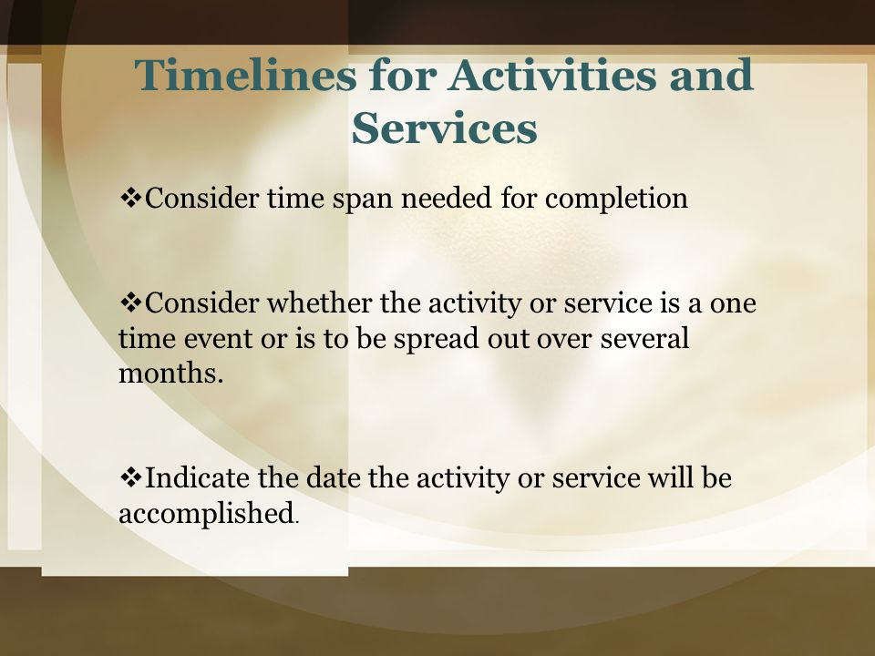 Timelines for Activities and Services